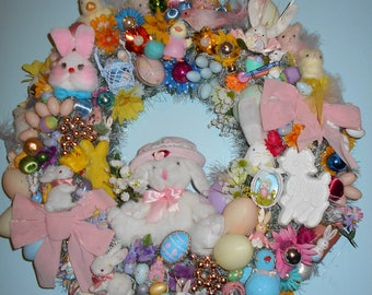 Vintage Easter Ooak handmade wreath glass hallmark ornaments cotton spun fur felt bunnies chicks eggs birds