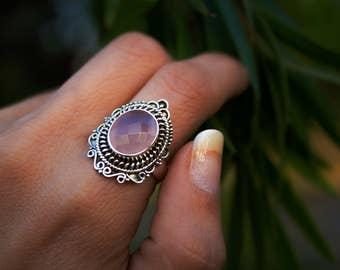 Rose Quartz Ring, Natural Rose Quartz, Pink Engagement Ring, Love Ring, Promise Ring, Sterling Silver Ring, Pure Silver, Boho, Gemstone Ring