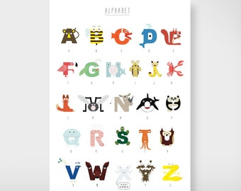 "A2 children posters ""Animal alphabet"""