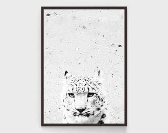 Snow Leopard Print, Black and White, Room Decor, Leopard Wall Art, Animal Poster, Scandinavian Design, Large Print, 20x30, Wild Cat