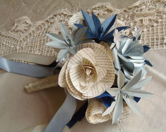 Jane Eyre Book Page Rose Bouquet with Navy and Silver Flowers and Ivory Trimmings. Charlotte Bronte, 1st Anniversary, Wedding, Bridal, Bride