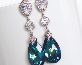 Handmade Swarovski Bermuda Blue Crystal Dangle Post Earrings (Sparkle-2168A)