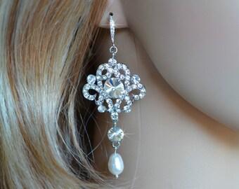 LAST ONE Handmade Vintage Inspired Crystal Rhinestone & Pearl Chandelier Earrings, Bridal, Wedding (Pearl-140)