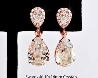 Rhodium, Yellow or Rose Gold Handmade Small Swarovski Clear Crystal & CZ Teardrop Clip-On Dangle Bridal Earrings, Bridal (Sparkle-2435)
