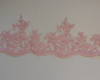 Baby pink floral lace trim / vintage pink tulle lace trimming is for sale Sold by Per Yard 90cm