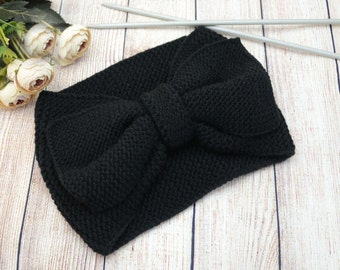 Knit headband Black Headband Ear Warmer Winter Hairband Winter headband Cute Turban Headband Knitted Bow Headband Bow Headband Handmade bow