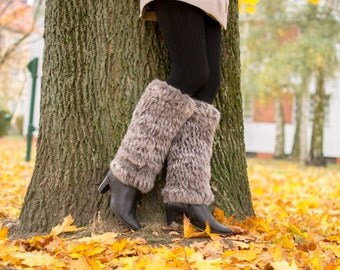 Rabbit Genuine Fur Gaiters Leg Warmer Gift for Her Shoes Winter Warm Soft Christmas Birthday Real Fur Accessory