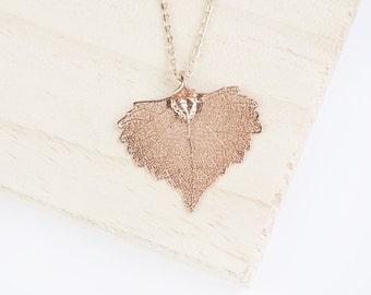 Cottonwood, Genuine Leaf Necklace, Leaf Pendant, Silver Leaf, Rose Gold Leaf, Copper Leaf, Yellow Gold Leaf, Choose Your Finish,