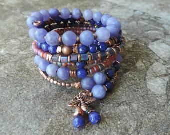 Memory Wire Bracelet. Memory Wire Wrap Bracelet. Beaded Bracelet. Glass and Stone Beads. Coil Bracelet. Cuff Bracelet. Stacked Bracelet.