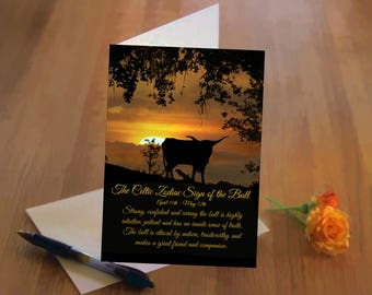 Celtic Zodiac Sign of the Bull, April 15th thru May 12th Taurus, Taurus Birthday Card