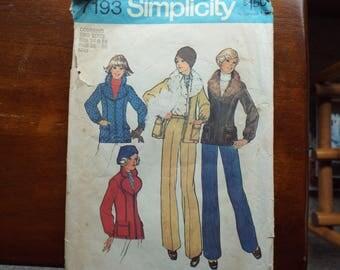 Vintage 1970S SIMPLICITY #7193 Misses Jacket & Pants Pattern 14-16 Bust 36-38 Miss