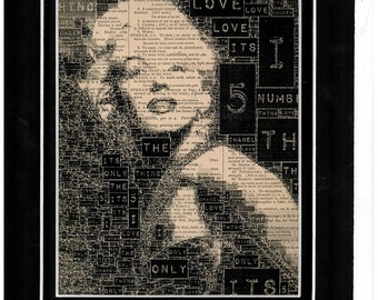 Marilyn Monroe typography on antique dictionary paper