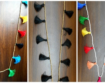 Multi Tassel Necklace, Long Tassel Necklace, Beaded Tassel Necklace, Mala Tassel Necklace, Multi-color Tassel Necklace, Seed Bead Necklace