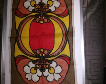 Peter Max  Linen  Table runner Vintage mid-century Modern