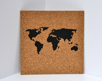 Push Pin Cork Map of the World / Wanderlust Travel Corkboard / Bucket List Bulletin Board