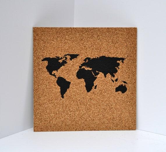 Push pin cork map of the world wanderlust travel corkboard like this item sciox Gallery