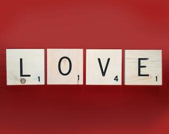 "Love Large Wooden Word Letter Tiles Engraved, Pine Love Sign, Letter Tiles 5x5"" Wood Squares Black Engraved Lettering"