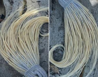 Platinum blonde chrocet DE dreads FULL SET, double ended synthetic dreads, ombré dreads, braids, white dreads, hair accessories, loose tails