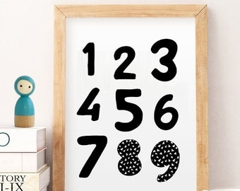 Nursery numbers, Nursery numbers art,  black white numbers, Numbers print, Nursery art, Childrens art, Kids printable , Kids numbers print