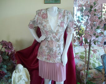 Summer Suit by Dawn Joy, Jacket and Skirt by Dawn Joy Fashions, Made in USA, Ecru-Pink-Green Brocade, sz 9-10