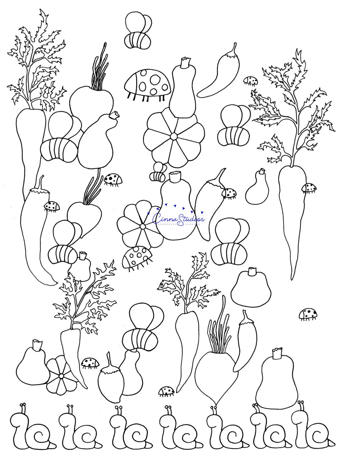 Vegetables I Coloring Page Adult Download Printable Activities For Kids Hand Drawn PDF