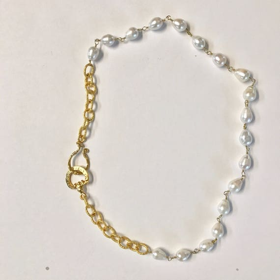 """Pearl Necklace, Baroque Pearl and Gold Texture Link Necklace, 22K  Gold Plated Hook Clasp, 23.5"""" Long"""