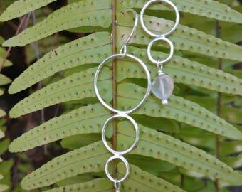 Sterling Silver triple hoop rose quartz drop earrings