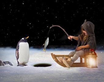 Penguin Ice Fishing Digital Backdrop