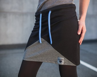 Alpha skirt in black and grey - geometric convenient straight skirt made of sweat (cotton) - mini skirt, made in Germany