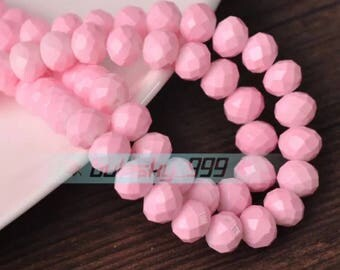 8 mm Crystal  Rondelle bead  36 pcs Baby Pink