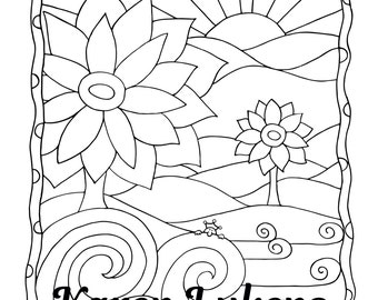 Surf Rider, 1 Adult Coloring Book Page, Instant Download, Ocean, Flowers