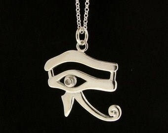 Sterling Silver All Seeing Eye of Horus Pendant & Chain