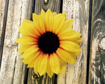 Yellow sunflower hair clip