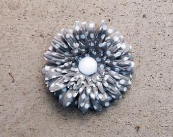 Gray Gerbera daisy hair clip