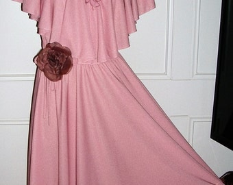 Vintage 1970's pink ethereal lace / shimmer jersey Saturday night fever full-circle sweep disco dress + tie/bow sash & corsage / SZ: MEDIUM