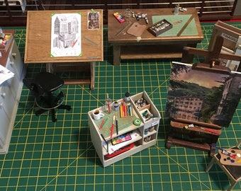 1/12th Scale Miniature 'working' Art Studio Set