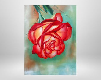 Rose, flower, oil painting, art print on canvas
