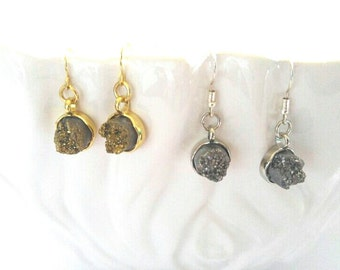 Metallic Gold and Silver Druzy Earrings