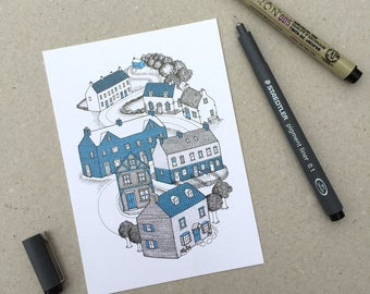 POSTCARD of Houses Illustration - cute, detailed line drawing of houses and buildings
