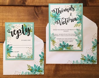 Floral Wedding Invitations // Summer Wedding Invitations // Custom Wedding Invitations