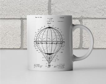 Hot Air Balloon Patent Art Mug Gift, Hot Air Balloon Mug, Pilot Gift, Aviation Gift, Balloonist Gift, Coffee Mug, Patent Print
