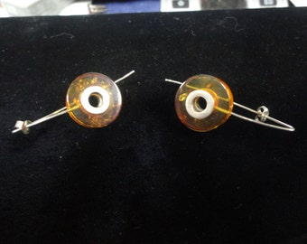 Cool Modernist Amber and Sterling Silver Threader Earrings c. 1980s
