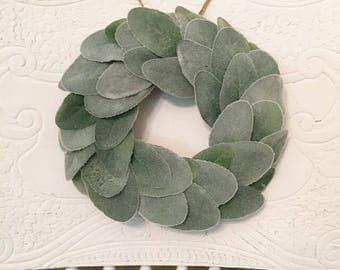 Mini Lambs Ear Wreath, Mini Wreath, Spring Wreath, Farmhouse Decor, Wall Decor
