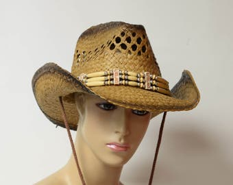 Natural Straw Fashion cowboy hat with rolled brim, duo-tone color staining and beaded