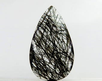 Black Rutile 21X12X5mm Pear Shape High Quality Briolite Cut Loose Gemstone For Jewelry Making 9Cts B-1009