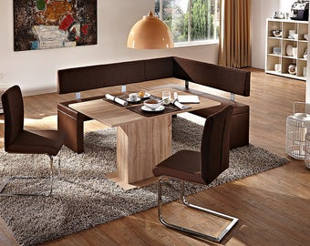 4 Piece Dining set, Dallas breakfast nook brown leatherette corner bench