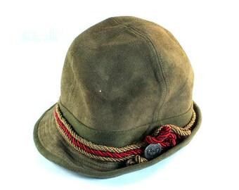 Vintage 70s Suede Hat, Echtes Leder Hat, German Suede Hat, Retro Hat, Vintage Echtes Leder, Leather Hat, Unique Vintage Echtes Leder, Hat