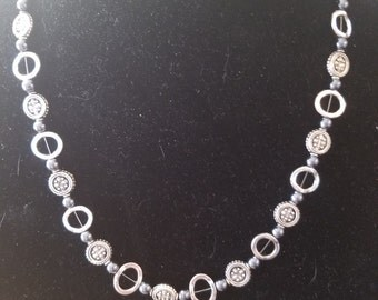 Silver and black pearl necklace