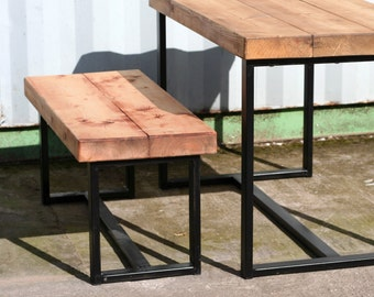 Industrial vintage, retro chic reclaimed wood bench - 150cm length