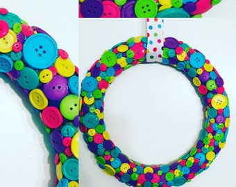 Bright Rainbow COLORS Button Wreath